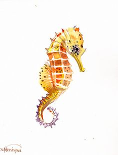 Caballito de mar Acuarela Original pintura 10 X 8 por ORIGINALONLY