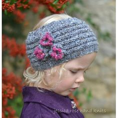 Jessica Rose Hand Knits collection by Linda Whaley. A girls tweedy Head Warmer with three pretty knitted flowers in Donegal Luxury Tweed Aran by Debbie Bliss Choose to knit this Head Warmer flat on a pair of Single Pointed needles OR circular (in-the-round) on DPNs (double pointed needles).....this pattern has separate instructions for both!