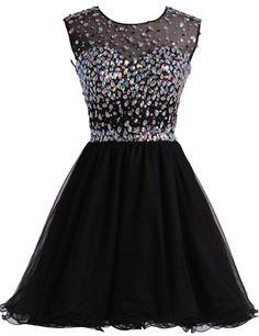 2be8650f88b Amazon.com  LovingDress Womens Tulle Homecoming Dress Scoop Beaded Bodice Short  Prom Dress Size 22W US Dark Navy  Clothing