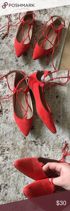 Topshop Lace-Up Flats Size 38, fits like a 7 1/2. Beautiful vibrant red! Good used condition, only worn 2-3 times. Some light marks throughout as shown in the pictures, I don't find them as noticeable when wearing. Surprising VERY comfortable flats! Topshop Shoes Flats & Loafers
