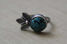Turquoise Sterling Silver Petal Ring by Decadence2Jewelry on Etsy, $62.00
