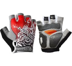 Handcrew Half Finger Cycling Gloves,Gel Bicycle Gloves,Long Distance Riding,Racing,Road,Mountain Bike Gloves - XL Red ** You can find out more details at the link of the image.