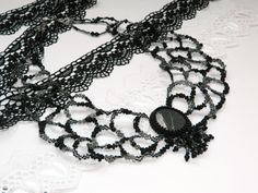 Victorian beaded necklace,Lace Charm necklace,Gothic,Vintage Renaissance necklace,Black Grey Beadwork Jewelry,bohemian,Bib,Beadwork,Bead on Etsy, US$29,00