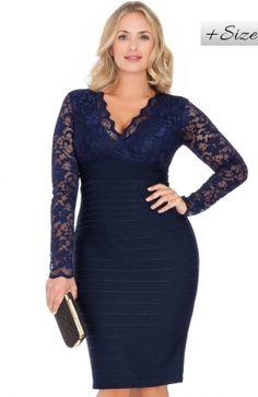 Elegantné čipkované šaty pre moletky V NECK LACE BODICE BONDAGE