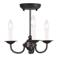 Livex Lighting 4153 3 Light Home Basics Convertible Mini Chandelier $89