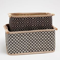 Image 1 of the product Rectangular basket with two-tone design Bamboo Box, Bamboo Basket, Wicker Baskets, Diy Storage Boxes, Storage Baskets, Rectangular Baskets, Black Basket, Home Decor Baskets, Zara Home