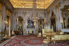 Buckingham Palace ~ The dazzling and sparkling White Drawing Room, incredible neo-classical ceiling by Sir John Nash, spectacular English  chandeliers by Parker & Perry, English and French furniture,  fireplaces by Joseph Browne, State Portrait of Queen Alexandra,  Axminster carpet.