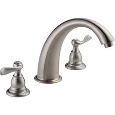 THIS! Delta Traditional Trim Stainless 2-Handle Adjustable Deck Mount Tub Faucet
