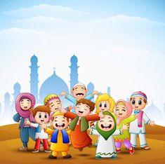 Happy Kids Celebrate For Eid Mubarak With Mosque Background - Happy kids celebrate for eid mubarak with mosque background Premium Vector Eid Al Fitr, Feliz Eid Mubarak, Happy Eid Mubarak, Wallpaper Ramadhan, Fest Des Fastenbrechens, Happy Eid Ul Fitr, Eid Mubark, Eid Crafts, Islamic Cartoon