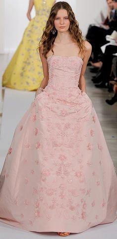 pink wedding dress by Oscar de la Renta
