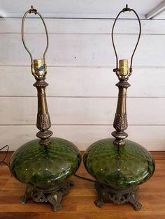 Vintage Green Table Lamp Green Glass Lamp Hollywood Regency Lamp