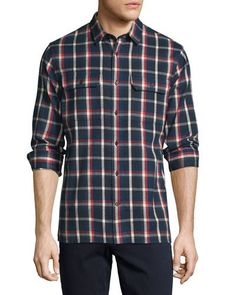 VINCE Plaid Flannel Military Shirt, Blue/Red. #vince #cloth #