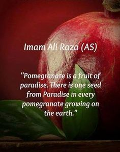 Grain from paradise Imam Reza, Imam Ali, Pomegranate Growing, Islamic Qoutes, Peace Be Upon Him, Allah Quotes, Learning Quotes, Exotic Fruit