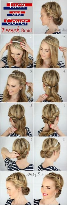 Tuck and cover french braid tutorial
