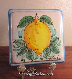 Vietri Italian Fratantoni Lemon & Leaves Hand Painted Decorative Tile Trivet #FratantoniItaly