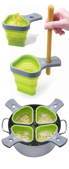 Cook & measure any type of pasta for one serving. These collapsible silicone pasta baskets fit with any size of depth pot and you can use four baskets in a pot at the same time. As well as theses baskets can be used for steaming vegetables and seafood to prepare a meal. The baskets are dishwasher safe. Price $8.47