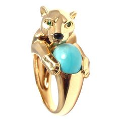 1stdibs.com | CARTIER Panther Turquoise Emerald Onyx Yellow Gold Ring, 1990'