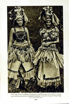 Antique Print of C1920 Pago Women Costumes Lava Samoan Beauty Lady