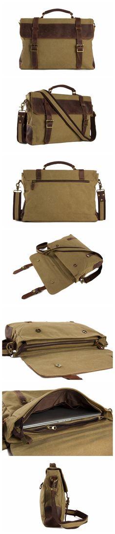 HANDMADE CANVAS LEATHER BAG BRIEFCASE MESSENGER BAG SHOULDER BAG LAPTOP BAG Canvas Travel Bag, Canvas Bags, Messenger Bag Backpack, Canvas Messenger Bag, Leather Bags, Canvas Leather, Photography Bags, Vintage Canvas, Briefcases