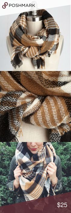 SALE• Modcloth scarf Tan and black plaid oversized scarf. Never worn. 100% acrylic. Modcloth Accessories Scarves & Wraps