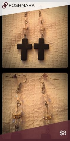 """🌟Sale today only🌟🎚Black Cross Earrings🎚 These earrings are gorgeous. They have Black crosses that are approx. 1"""" long. They hang from a strand with three Crystals. Between two of the Crystals Is a ring of Rhinestones. None are missing. They are in excellent condition. They have fishhook backs. Total length of earring is a little over 3"""". These are absolutely beautiful! Jewelry Earrings"""
