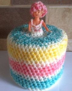 MULTICOLOURED SPECKLE STRIPES KITCH NOVELTY CROCHETED TOILET ROLL HOLDER DOLL in… Toilet Roll Holder Doll, Shabby Chic Toilet, Paper Cover, Tissue Paper, Pot Holders, Crocheting, Rolls, Birthday Cake, Stripes