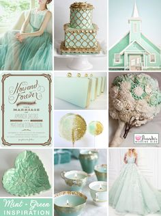 Mint green and gold wedding inspiration #weddings