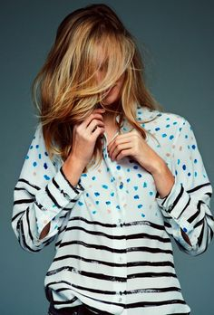 LE FASHION BLOG STRIPES SPOTS SHIRT PAINTED SPOTS BLACK STRIPES MIH JEANS ILLUSTRATOR BERNADETTE PASCUA COLLABORATION DECADE DIARY 2 photo L...