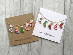 Christmas Card Crafts, Homemade Christmas Cards, Christmas Cards To Make, Homemade Cards, Christmas Fun, Christmas Stocking, Button Christmas Cards, Diy Holiday Cards, Beautiful Christmas Cards