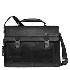 Piquadro Computer Briefcase with Two Closures Black One Size