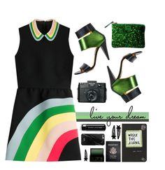 """""""Green Day"""" by kels-x ❤ liked on Polyvore featuring RED Valentino, Kim Kwang, Holga, Marc Jacobs, Passport, Native Union, Surratt and greenday"""