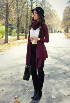 purple draped cardigan