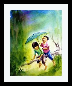 15% Off Original Art Watercolor Painting, kid art, umbrella, rains, Watercolours Art, Impressionist, Figurative Art, painting, Gift painting by ArtbyAashaa on Etsy