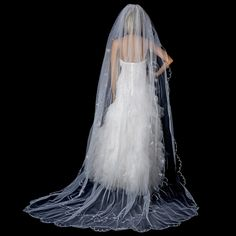 Single White Tier Cathedral Length Veil Accented in Flower Embroidery & Swarovsi Crystals 67