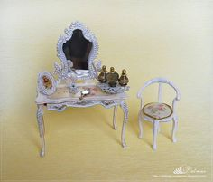1:12 White bureau with mirror and chair Dollhouse Miniature French Style Shabby-chic by verrano