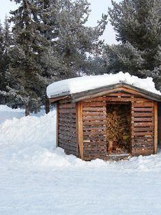Winter Farm Wood Shed