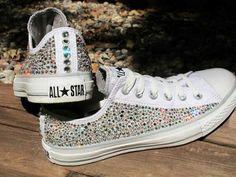Converse all stars with diamonds cute white colorful