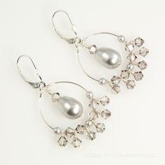 Sterling silver grey pearl and crystal hoop earrings, dangle, handmade via Etsy.