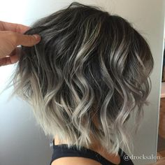 45 Shades of Grey: Silver and White Highlights for Eternal Youth Subtle Gray Balayage For Brunette Bob Related posts:Curly Hairstyle For Many Mordern Short Hairstyles You'll Want to Wear in 201940 Popular Pixie And Bob Short Hair Styles for Summer Balayage Blond, Balayage Color, Short Balayage, Honey Balayage, Silver Blonde Hair, Silver Ombre, Short Silver Hair, Dark Ombre, Silver Color