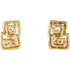 Pre-owned Double Greek Key Clip-On Earrings ($925) ❤ liked on Polyvore featuring jewelry, earrings, gold jewelry, gold jewellery, earring jewelry, 18k earrings and yellow gold jewelry