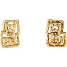 Pre-owned Double Greek Key Clip-On Earrings ($925) ❤ liked on Polyvore featuring jewelry, earrings, 18 karat gold earrings, clip back earrings, 18k gold jewelry, clip-on earrings and earring jewelry
