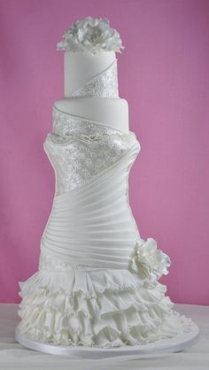 WOW! this is such a cool take on the wedding dress cake..Sandra Monger Wedding & Celebration Cakes