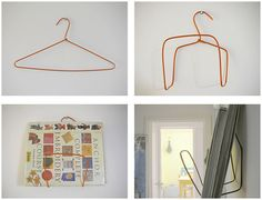 Why didn't I think of that? DIY Wire Hanger Book / Magazine Holder just made this: works good. put it in our bathroom.