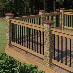 Add Your Outdoor Living Space with Deck Railing Ideas: Wooden Deck Plans With Deck Railing Ideas And Deck Handrail For Patio Design Ideas Also Lawn For Outdoor Design With Outdoor Living Space Ideas Plus Exterior Design And Faux Stone Newels Metal Deck Railing, Deck Railing Design, Deck Balusters, Patio Railing, Decking Handrail, Patio Handrail Ideas, Metal Roof, Deck Railing Ideas Cheap, Railings For Decks