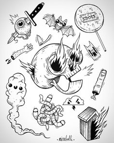 "166 Likes, 10 Comments - Mirabolle (@mirabolle) on Instagram: ""New flash sheet for the ""Halloween flash day"" @tattoostudio1974 . I will be tattooing this the 31st…"""