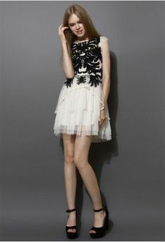 Contrast Floral Embossment White Tulle Dress