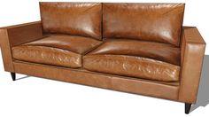 canapé HENRY cuir marron, maisons du monde, ref 134.414 prix:1199€ - 3D Warehouse