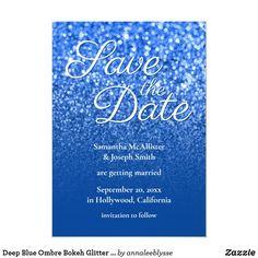 Deep Blue Ombre Bokeh Glitter Save the Date Invitation