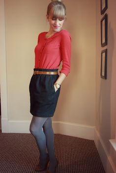 buttoned up cardigan, skirt, grey tights