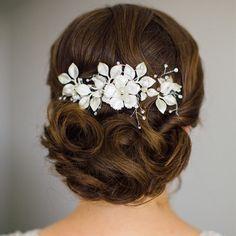 bridal headpiece - Fiorentina comb by Stephanie Browne - matt silver